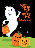 Ghost with Trick-or-Treat Bag 5x7 Folded Card