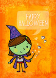 Cute Green Witch 5x7 Folded Card