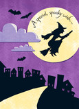 Witch Silhouette Over Moon 5x7 Folded Card