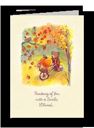 Bear with Pumpkin in Wheelbarrow 5x7 Folded Card