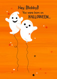 Ghost Halloween Birthday Balloons 5x7 Folded Card