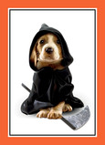 Puppy in Grim Reaper Costume 5x7 Folded Card