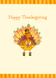 Illustrated Thanksgiving Turkey 5x7 Folded Card