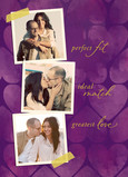 Purple Heart Pattern with Photos 5x7 Folded Card