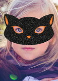 Black-Cat Mask Overlay 5x7 Folded Card