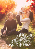 Thanksgiving White Lettering Overlay 5x7 Folded Card