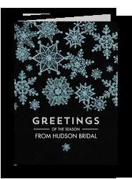 Blue Snowflakes on Black 5x7 Folded Card