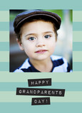 Blue Stripes Grandparents Day 5x7 Folded Card
