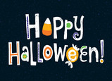 Happy Halloween Lettering with Candy 7x5 Folded Card