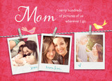 Mom Photos on Clothesline 7x5 Folded Card