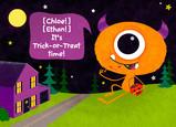 Orange One-eyed Monster 7x5 Folded Card