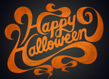 Happy Halloween Orange Script Design 7x5 Folded Card