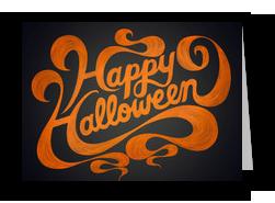 Happy Halloween Orange Script Design 7x5 Folded Card