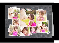 Photos With Washi Tape On Chalkboard 7x5 Folded Card