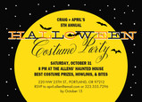 Halloween Invitation with Yellow Moon 7x5 Flat Card