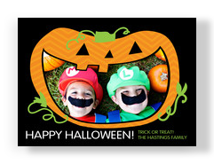 Jack-o-lantern with Photo in Mouth 7x5 Flat Card