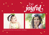 Be Joyful - Red with Gold Confetti 7x5 Postcard