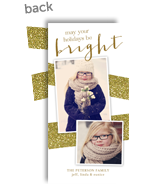 Gold Glitter Look Bands on White 4x8 Flat Card