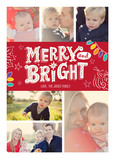 Red Merry and Bright with Lights 5x7 Flat Card