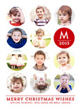 Monogram with 11 Circle Photos on White 5x7 Flat Card