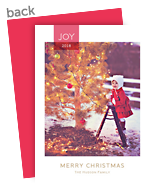 Joy - Red Ribbon Overlay 5x7 Flat Card