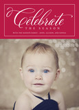 Celebrate the Season - White on Red 5x7 Flat Card