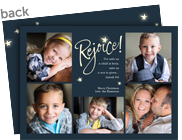 Rejoice on Navy with Stars 7x5 Flat Card