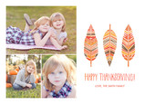 Happy Thanksgiving - Feather Design 7x5 Flat Card
