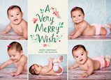 Merry Wish with Watercolor Floral 7x5 Flat Card