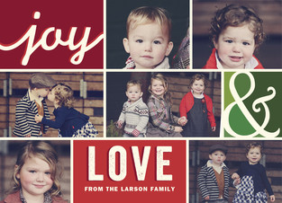 Joy & Love - Color Blocks and 7 Photos 7x5 Flat Card