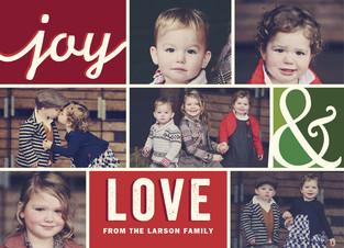 Joy & Love - Color Blocks and 7 Photos 7x5 Flat Card