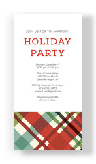 Contemporary Plaid Holiday Party Invitation 4x8 Flat Card