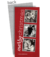 Silver Glitter Frames 4x8 Flat Card
