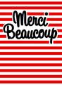 Striped Merci Beaucoup 3.75x5.25 Folded Card
