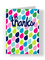 Colorful Raindrops Thanks 3.75x5.25 Folded Card