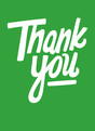 Simple Casual Thank You on Green 3.75x5.25 Folded Card