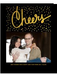 Gold Cheers Confetti 5x7 Flat Card