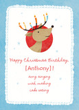 Cute Christmas-birthday Reindeer 5x7 Folded Card