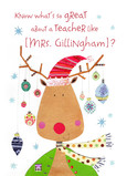 Christmas Reindeer for a Great Teacher 5x7 Folded Card