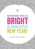 Colorful Glittery New Year's Wish 5x7 Folded Card