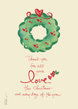 Christmas Wreath - Love 5x7 Folded Card