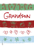 Holiday Stripes for Grandson 5x7 Folded Card