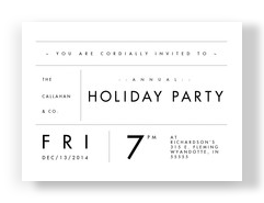 Typographic Holiday Party Invitation 7x5 Flat Card