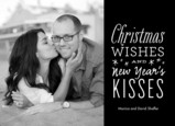 christmas wishes new year's kisses 7x5 Flat Card
