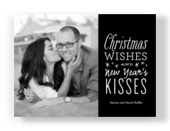 christmas wishes new years kisses 7x5 flat card