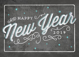 Happy New Year Chalkboard Art 7x5 Folded Card