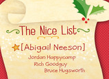 Santa's Nice List 7x5 Folded Card