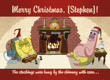 Spongebob & Patrick at Fireplace 7x5 Folded Card