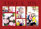 Love & Joy Photos on Red 7x5 Postcard