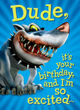Funny Birthday Shark-dog 5x7 Folded Card